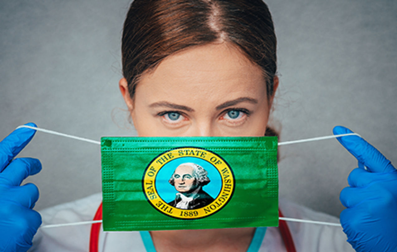 Image of a medical worker putting on a surgical mask adorned with the seal of the State of Washington