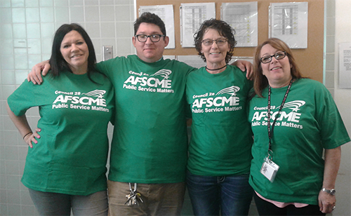 ABHS Members in Chehalis show their solidarity and proudly sport their 100% Union shirts in support of a strong contract!   Pictured L-R: April Byrd, Aaron Ristow, Doreen Bartley, and April Grace