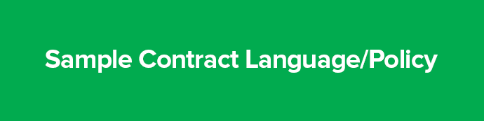 Section title: Sample Contract Language/Policy