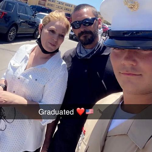 Shannon Rushing with her son at boot camp graduation.